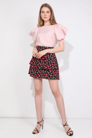 Женская пудровая блузка с воздушными рукавами - Thumbnail