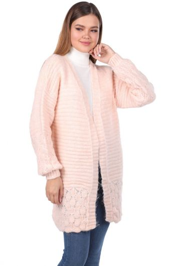 MARKAPIA WOMAN - Women Powder Knitted Pattern Detailed Knitwear Cardigan (1)