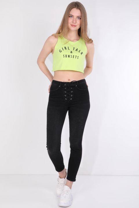 Женская укороченная футболка без рукавов с принтом неоново-зеленая