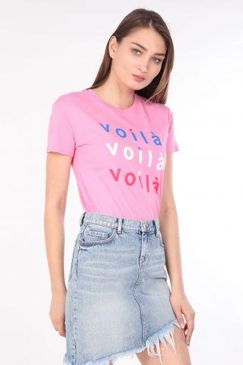MARKAPIA WOMAN - Женская футболка с круглым вырезом и принтом розовая (1)