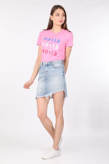 Women's Printed Crew Neck T-shirt Pink - Thumbnail