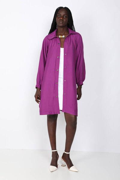 BLUE WHITE - Women's Purple Short Trench Coat (1)