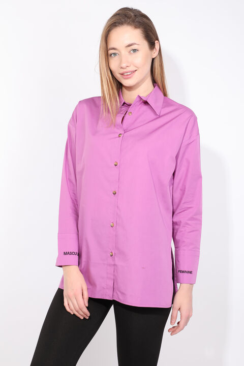 Women's Purple Slit Boyfriend Shirt