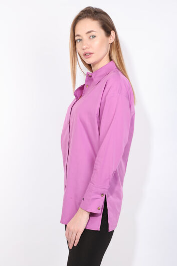 MARKAPIA WOMAN - Women's Purple Slit Boyfriend Shirt (1)
