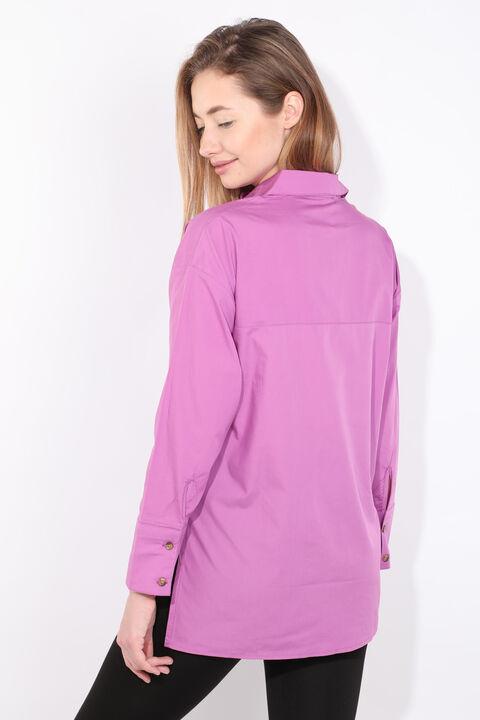 Women's Purple Slit Boyfriend Shirt