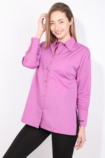 Women's Purple Slit Boyfriend Shirt - Thumbnail