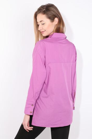 Женская фиолетовая рубашка-бойфренд с разрезом - Thumbnail