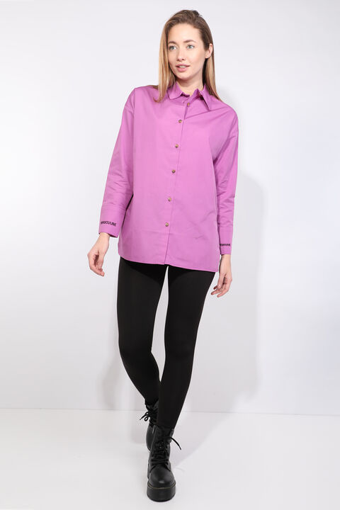 Женская фиолетовая рубашка-бойфренд с разрезом