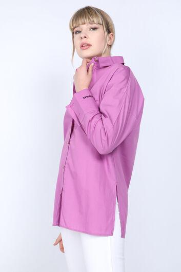 MARKAPIA WOMAN - Женская фиолетовая рубашка-бойфренд с вышивкой разрезом (1)