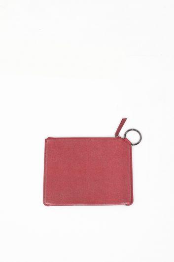 Женская красная блестящая ручная сумка - Thumbnail