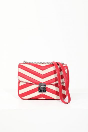 Women's Red Leather Clip Crossbody Shoulder Bag - Thumbnail