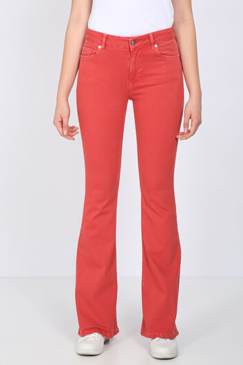 Women's Red Long Flared Jean Trousers - Thumbnail