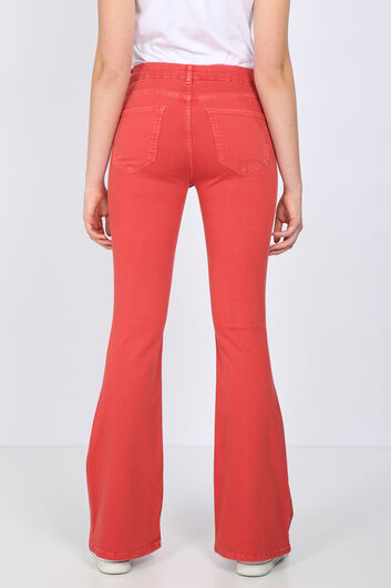 BLUE WHITE - Women's Red Long Flared Jean Trousers (1)