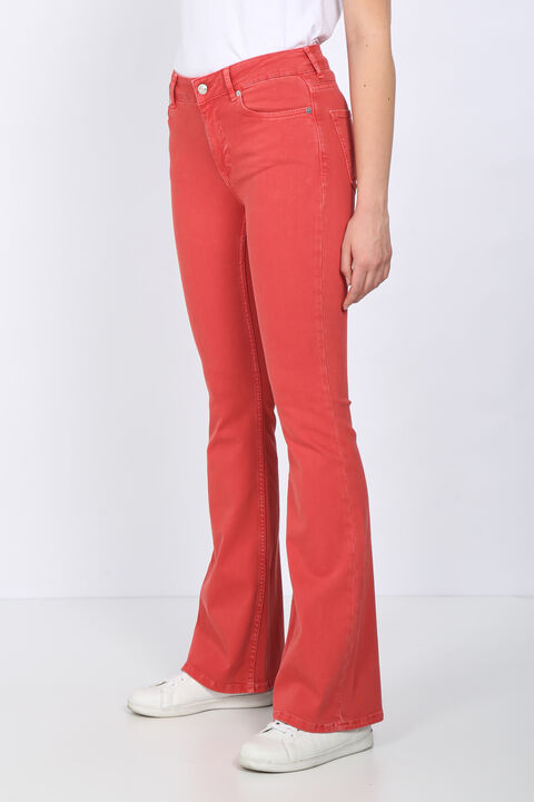 Women's Red Long Flared Jean Trousers