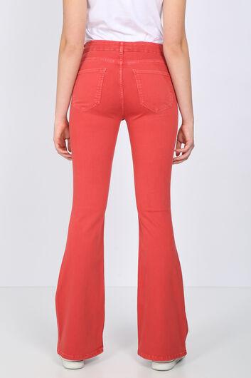 BLUE WHITE - Женские красные длинные расклешенные джинсовые брюки (1)
