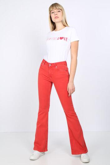 Женские красные длинные расклешенные джинсовые брюки - Thumbnail
