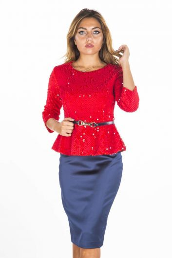 BUTİK DAYI - Women's Red Sequined Top Skirt Suit  (1)