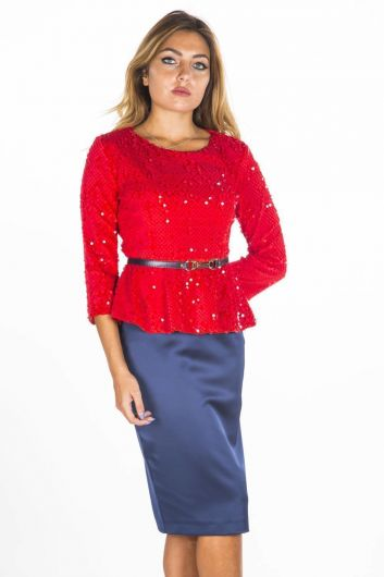 Women's Red Sequined Top Skirt Suit - Thumbnail