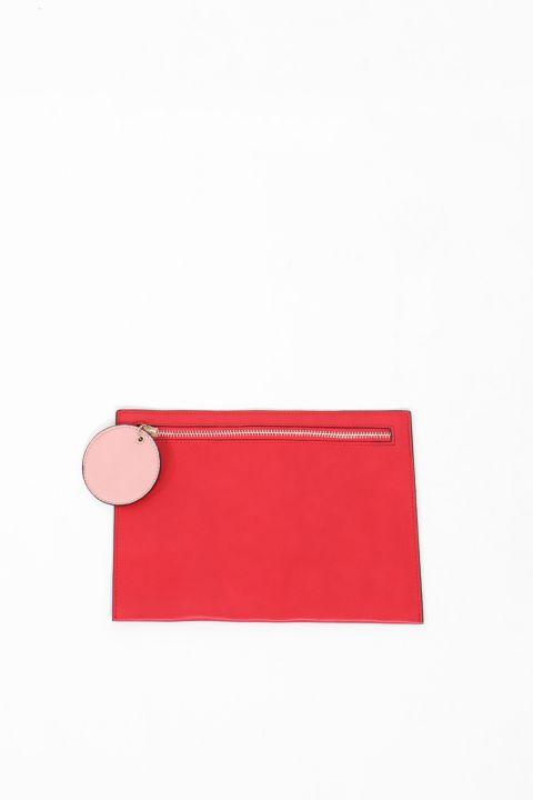 حقيبة يد نسائية جلدية حمراء اللون