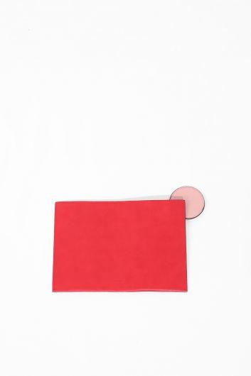 حقيبة يد نسائية جلدية حمراء اللون - Thumbnail