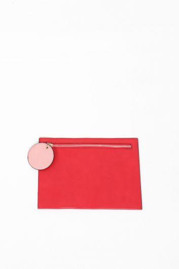 Красная женская сумка с кожаной отделкой - Thumbnail
