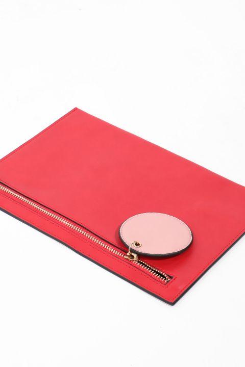 Красная женская сумка с кожаной отделкой