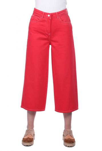 Women's Red Wide Leg Jean Trousers - Thumbnail