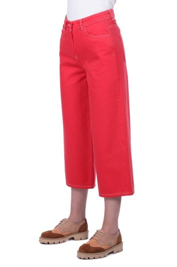 BLUE WHITE - Women's Red Wide Leg Jean Trousers (1)
