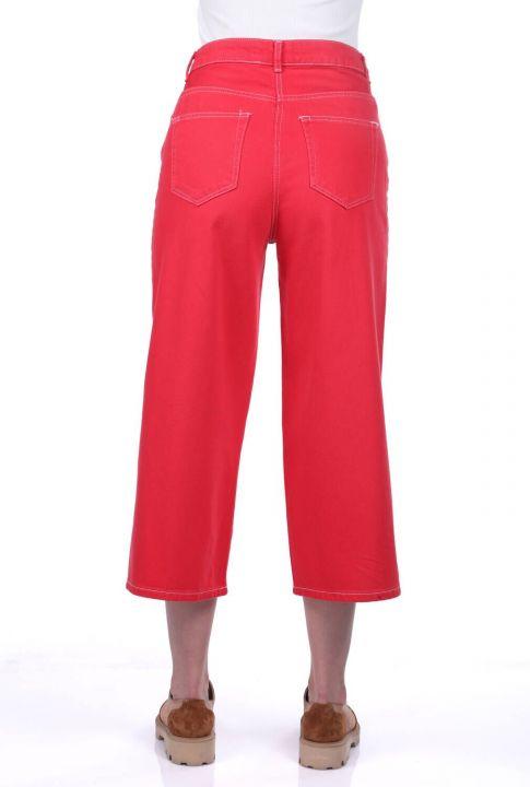 Women's Red Wide Leg Jean Trousers