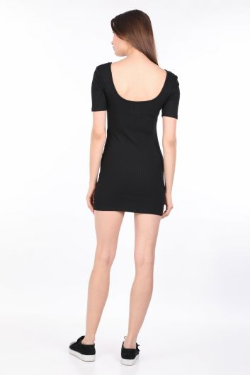 فستان نسائي ضيق مضلع أسود - Thumbnail