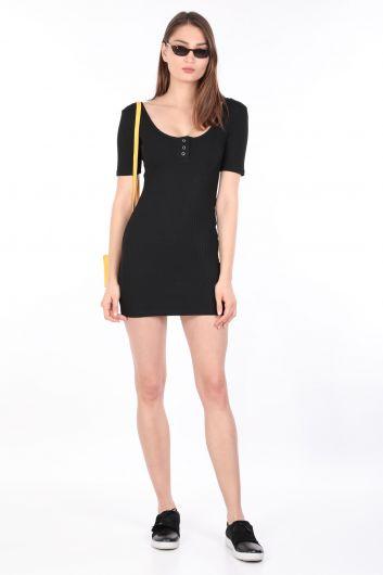 Женское обтягивающее платье в рубчик, черное - Thumbnail