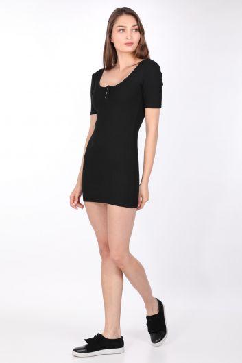 MARKAPIA WOMAN - Женское обтягивающее платье в рубчик, черное (1)