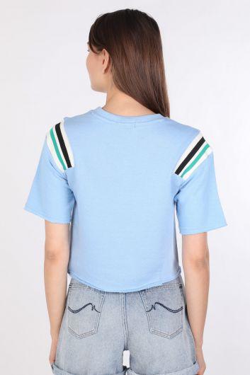 Укороченная женская футболка в рубчик синего цвета - Thumbnail