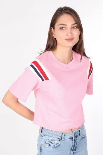 Укороченная женская футболка в рубчик розовая - Thumbnail