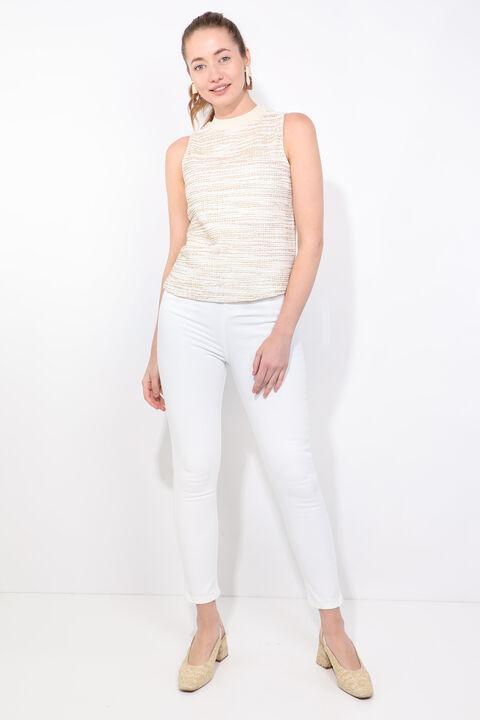 Женская блузка без рукавов в рубчик