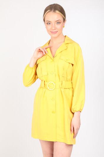MARKAPIA WOMAN - فستان بياقة الحزام الأصفر للمرأة (1)