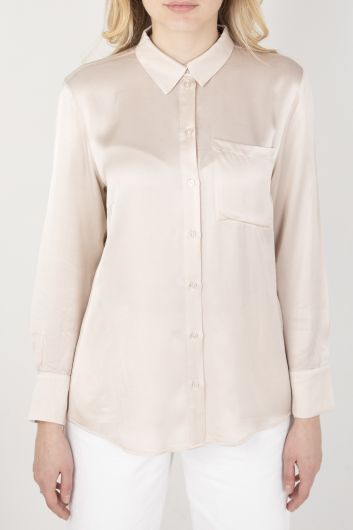 Women's Satin Shirt Stone - Thumbnail