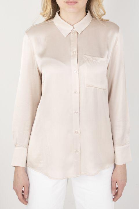 Women's Satin Shirt Stone