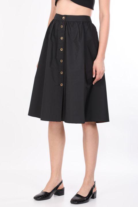 تنورة ميدي نسائية أساسية بأزرار جانبية أسود