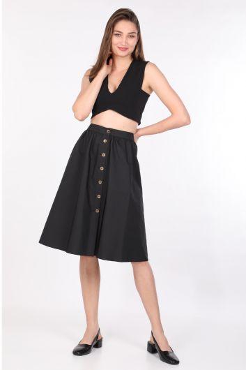 تنورة ميدي نسائية أساسية بأزرار جانبية أسود - Thumbnail