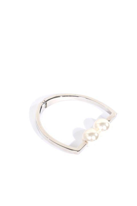 Women's Silver Looking Pearl Bracelet