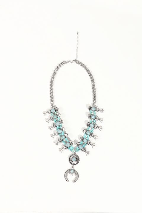 Women's Silver Looking Stone Necklace