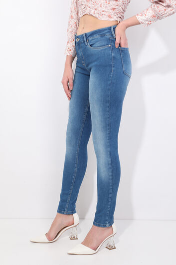 BLUE WHITE - Women's Skinny Fit Jeans (1)