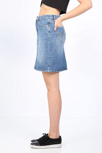 تنورة جينز نسائية بقصة ضيقة أزرق فاتح - Thumbnail