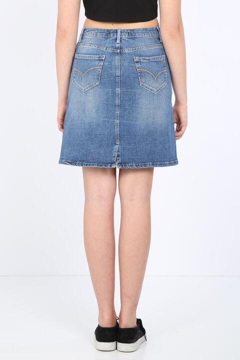 تنورة جينز نسائية بقصة ضيقة أزرق فاتح