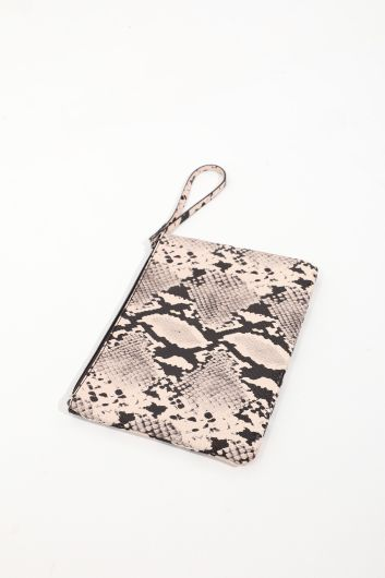 Женская ручная сумка с цветочным узором в виде змеи и аппликацией - Thumbnail