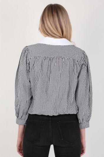 قميص قطني بياقة واقفة للسيدات - Thumbnail