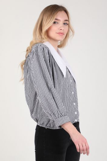MARKAPIA WOMAN - Women's Stand Collar Gingham Shirt (1)