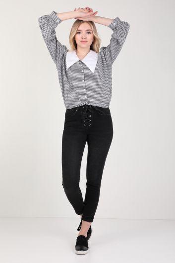 Women's Stand Collar Gingham Shirt - Thumbnail