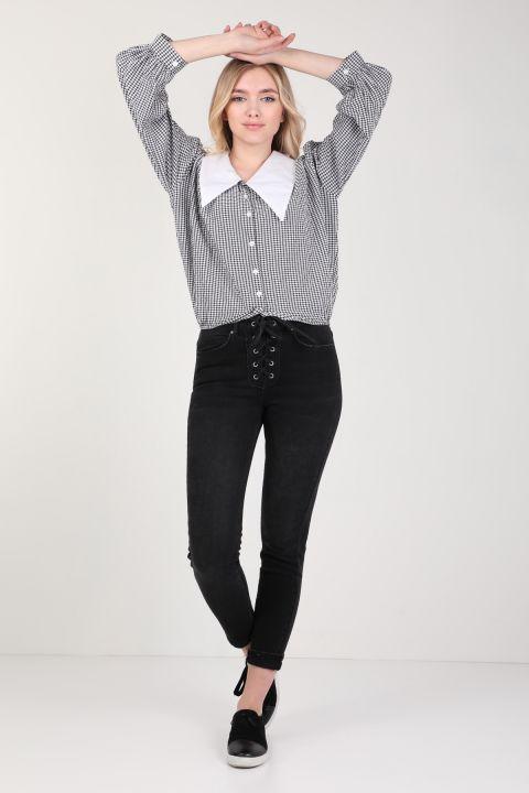 Women's Stand Collar Gingham Shirt